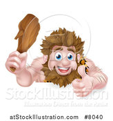 Vector Illustration of a Cartoon Muscular Happy Caveman Giving a Thumb up and Holding a Club over a Sign by AtStockIllustration