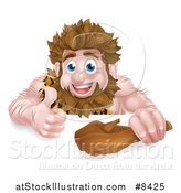 Vector Illustration of a Cartoon Muscular Happy Caveman Holding a Club and Giving a Thumb up over a Sign by AtStockIllustration