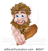 Vector Illustration of a Cartoon Muscular Happy Caveman Holding a Club Around a Sign by AtStockIllustration