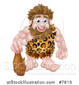 Vector Illustration of a Cartoon Muscular Happy Caveman Standing with a Club by AtStockIllustration