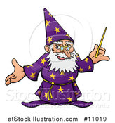 Vector Illustration of a Cartoon Old Wizard Holding a Wand and Presenting by AtStockIllustration
