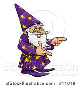 Vector Illustration of a Cartoon Old Wizard Pointing by AtStockIllustration