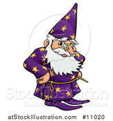 Vector Illustration of a Cartoon Old Wizard with Hands on His Hips by AtStockIllustration