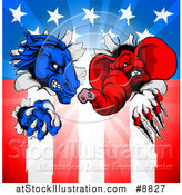 Vector Illustration of a Cartoon Political Aggressive Democratic Donkey or Horse and Republican Elephant Shredding Through an American Flag and Burst by AtStockIllustration