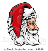 Vector Illustration of a Cartoon Profiled Jolly Santa Claus Face in a Christmas Hat by AtStockIllustration