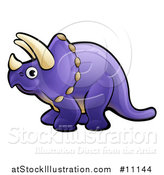 Vector Illustration of a Cartoon Purple Triceratops Dino Facing Left by AtStockIllustration