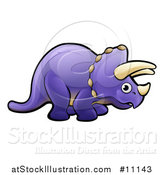 Vector Illustration of a Cartoon Purple Triceratops Dino Facing Right by AtStockIllustration