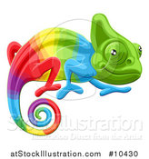 Vector Illustration of a Cartoon Rainbow Chameleon Lizard by AtStockIllustration