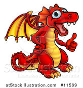 Vector Illustration of a Cartoon Red Dragon Giving a Thumb up by AtStockIllustration