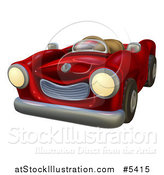 Vector Illustration of a Cartoon Red Vintage Convertible Car by AtStockIllustration