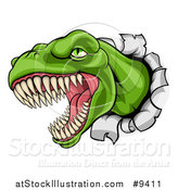 Vector Illustration of a Cartoon Roaring Angry Green Tyrannosaurus Rex Dino Head Breaking Through a Wall by AtStockIllustration