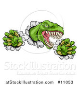 Vector Illustration of a Cartoon Roaring Green Tyrannosaurus Rex Dinosaur Slashing Through Metal by AtStockIllustration