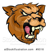 Vector Illustration of a Cartoon Roaring Grizzly Bear Mascot Head by AtStockIllustration