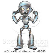 Vector Illustration of a Cartoon Robot Character in a Rage by AtStockIllustration