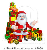 Vector Illustration of a Cartoon Santa Claus Presenting and Giving a Thumb up by Stacked Christmas Gifts by AtStockIllustration
