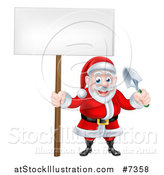Vector Illustration of a Cartoon Santa Holding a Blank Sign and a Garden Trowel by AtStockIllustration