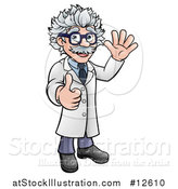 Vector Illustration of a Cartoon Scientist Waving and Giving a Thumb up by AtStockIllustration