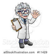 Vector Illustration of a Cartoon Scientist Waving and Holding a Clipboard by AtStockIllustration