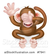 Vector Illustration of a Cartoon See No Evil Wise Monkey Covering His Eyes by AtStockIllustration