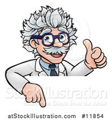 Vector Illustration of a Cartoon Senior Male Scientist Giving a Thumb up over a Sign by AtStockIllustration
