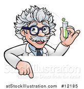 Vector Illustration of a Cartoon Senior Male Scientist Holding a Test Tube over a Sign by AtStockIllustration