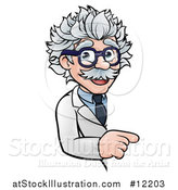Vector Illustration of a Cartoon Senior Male Scientist Pointing Around a Sign by AtStockIllustration