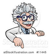 Vector Illustration of a Cartoon Senior Male Scientist Pointing down over a Sign by AtStockIllustration