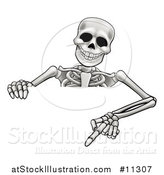 Vector Illustration of a Cartoon Skeleton Pointing down over a Sign by AtStockIllustration