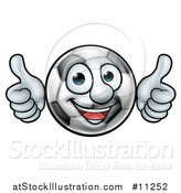 Vector Illustration of a Cartoon Soccer Ball Mascot Character Giving Two Thumbs up by AtStockIllustration