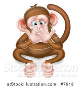 Vector Illustration of a Cartoon Speak No Evil Wise Monkey Covering His Mouth by AtStockIllustration
