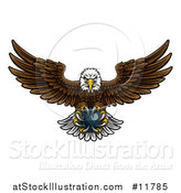 Vector Illustration of a Cartoon Swooping American Bald Eagle with a Bowling Ball in His Talons by AtStockIllustration