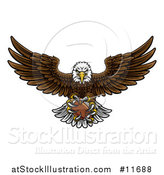 Vector Illustration of a Cartoon Swooping American Bald Eagle with a Football in His Talons by AtStockIllustration