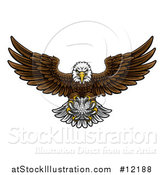 Vector Illustration of a Cartoon Swooping American Bald Eagle with a Golf Ball in His Talons by AtStockIllustration