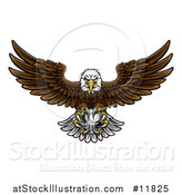 Vector Illustration of a Cartoon Swooping American Bald Eagle with a Soccer Ball in His Talons by AtStockIllustration