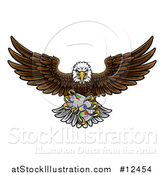 Vector Illustration of a Cartoon Swooping American Bald Eagle with a Video Game Controller in Its Claws by AtStockIllustration