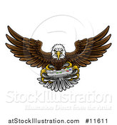 Vector Illustration of a Cartoon Swooping American Bald Eagle with a Video Game Controller in Its Talons by AtStockIllustration