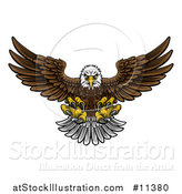 Vector Illustration of a Cartoon Swooping American Bald Eagle with Talons Extended, Flying Forward by AtStockIllustration