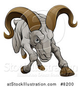 Vector Illustration of a Cartoon Tough Angry Ram Sheep Charging Forward by AtStockIllustration