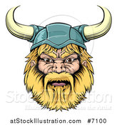 Vector Illustration of a Cartoon Tough Blond Male Viking Warrior Head with a Horned Helmet by AtStockIllustration