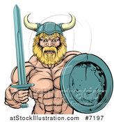 Vector Illustration of a Cartoon Tough Muscular Blond Male Viking Warrior Holding a Sword and Shield by AtStockIllustration