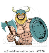 Vector Illustration of a Cartoon Tough Muscular Blond Male Viking Warrior Holding an Axe and Shield by AtStockIllustration