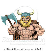 Vector Illustration of a Cartoon Tough Muscular Blond Male Viking Warrior Holding an Axe, from the Waist up by AtStockIllustration