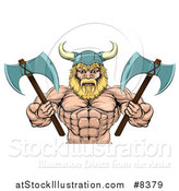 Vector Illustration of a Cartoon Tough Muscular Blond Male Viking Warrior Holding Axes, from the Waist up by AtStockIllustration