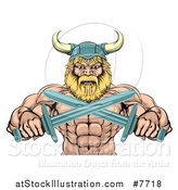 Vector Illustration of a Cartoon Tough Muscular Blond Male Viking Warrior Holding Crossed Swords, from the Waist up by AtStockIllustration