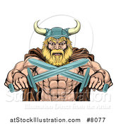 Vector Illustration of a Cartoon Tough Muscular Blond Male Viking Warrior in a Cape and Helmet, Holding Crossed Swords, from the Waist up by AtStockIllustration
