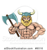 Vector Illustration of a Cartoon Tough Muscular Blond Male Viking Warrior Wearing a Cape and Holding a Battle Axe by AtStockIllustration