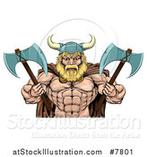 Vector Illustration of a Cartoon Tough Muscular Blond Male Viking Warrior Wearing a Cape and Holding Axes by AtStockIllustration