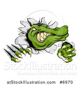 Vector Illustration of a Cartoon Vicious Alligator or Crocodile Head Slashing Through a Wall by AtStockIllustration