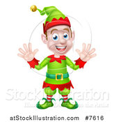Vector Illustration of a Cartoon Welcoming Young Male Christmas Elf Waving with Both Hands by AtStockIllustration
