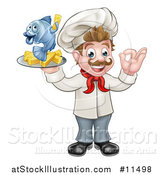 Vector Illustration of a Cartoon White Male Chef Gesturing Ok and Holding a Fish and Chips on a Tray by AtStockIllustration